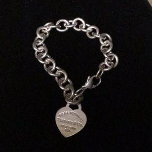Tiffany Sterling Silver Heart Charm Bracelet